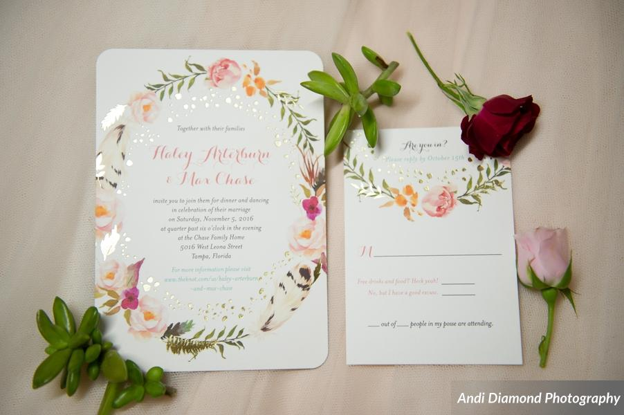 The invitations reflected a floral boho vibe.