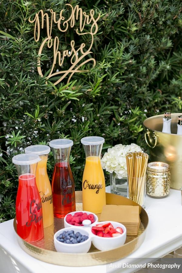 Guests concocted champagne cocktails at a self-serve Bubbly Bar.