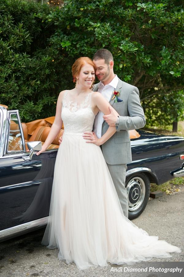 The couple posed with their family's classic convertible car.