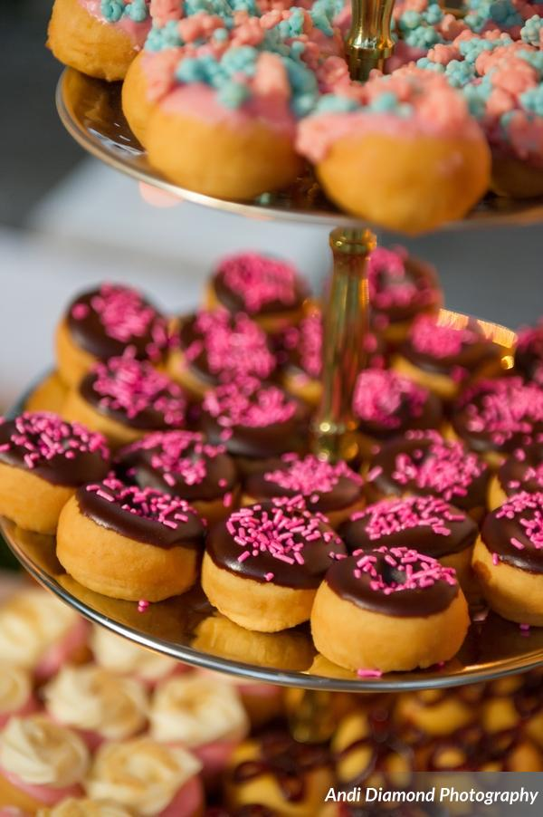 Mini donuts were even decorated with pink accents to coordinate with the wedding colors.
