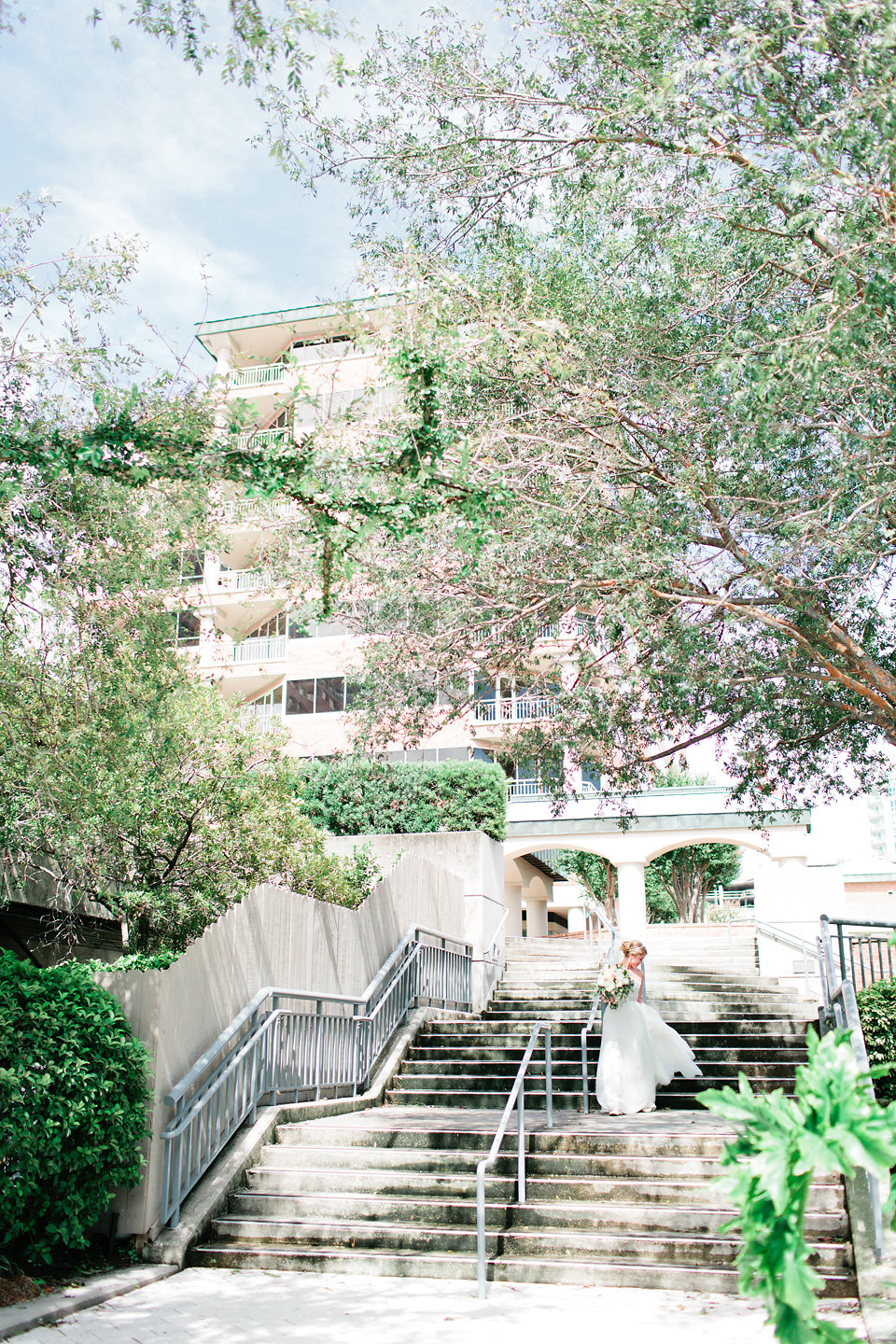 The bride and groom shared an intimate first look down a private path at the hotel.