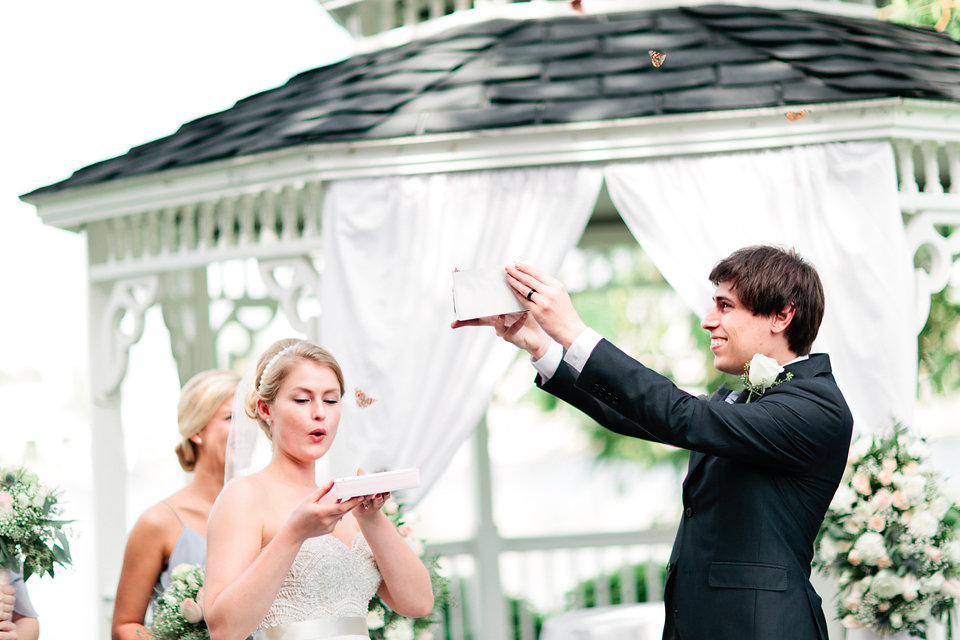 The couple released live butterflies during the ceremony!
