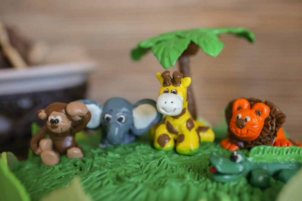 The cake was also topped with handmade clay animals sitting in buttercream grass!