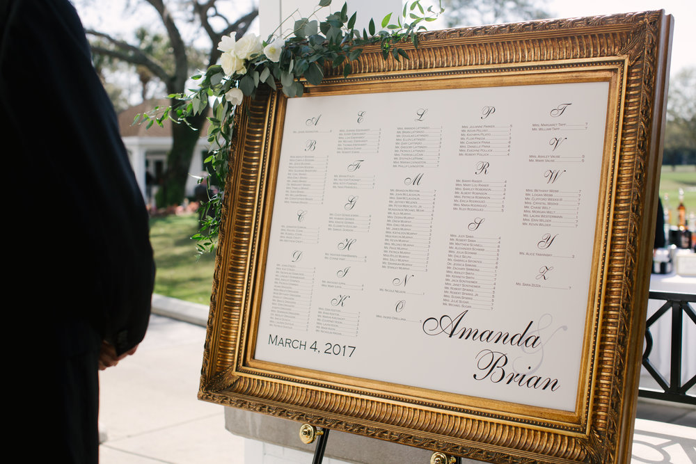 The seating chart in an ornate gold frame, adorned with more Napa inspired greenery.