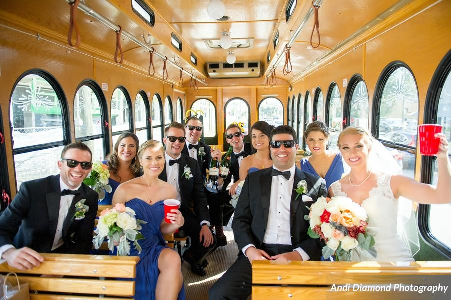 The bridal party were ready for the celebration to begin, and got started a little early on the way to the reception!