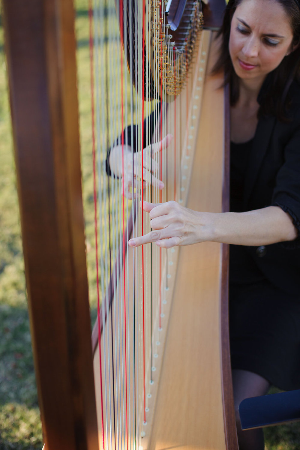 A harpist played as everyone walked down the aisle, adding a sophisticated and romantic touch to the already beautiful outdoor ceremony.