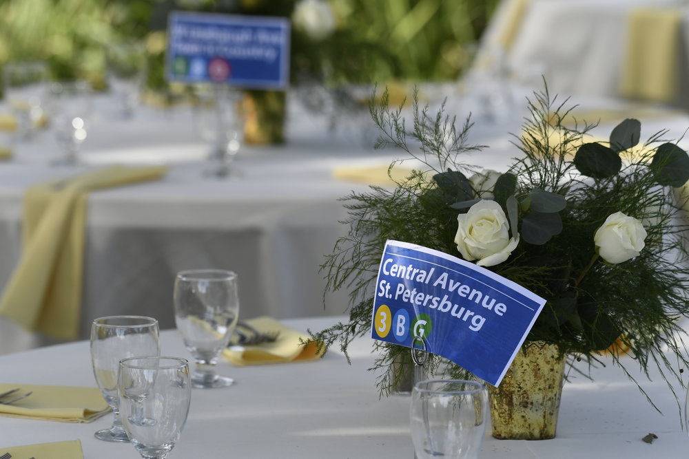 The table numbers were modeled after transit stops in the greater Tampa Bay area.