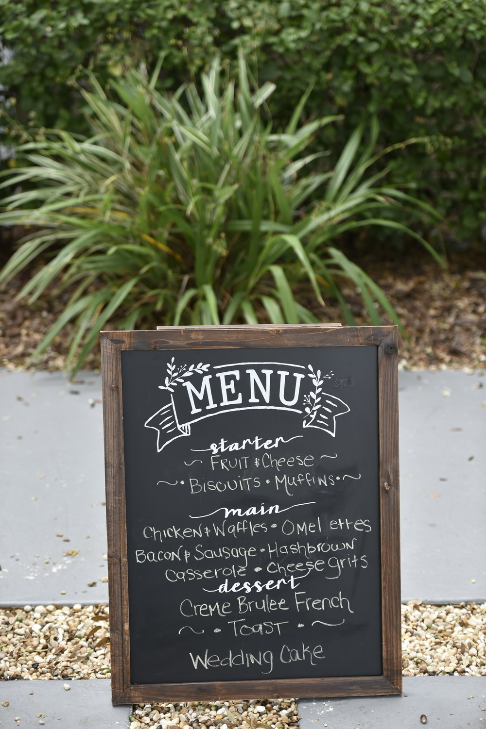 A hand written chalkboard sign displayed the brunch menu.