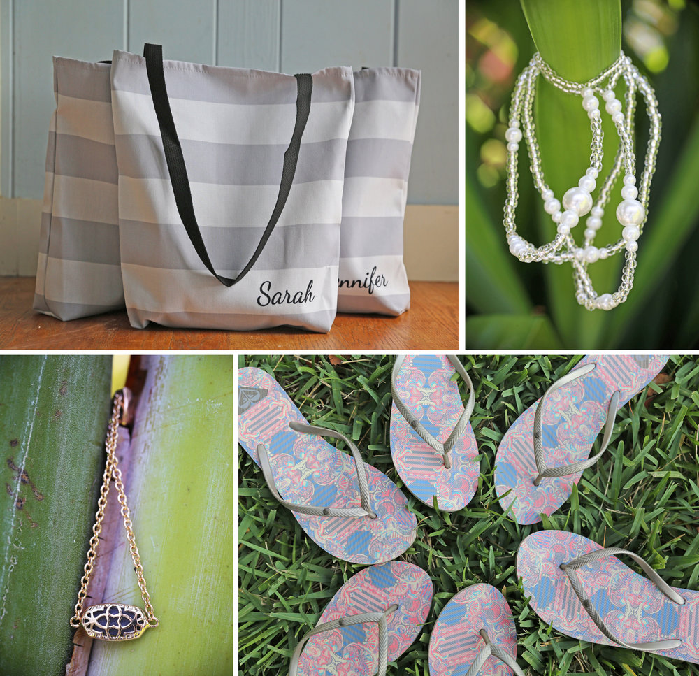 Natural details were combined with cute beach elements like striped totes and matching bridal party flip flops.