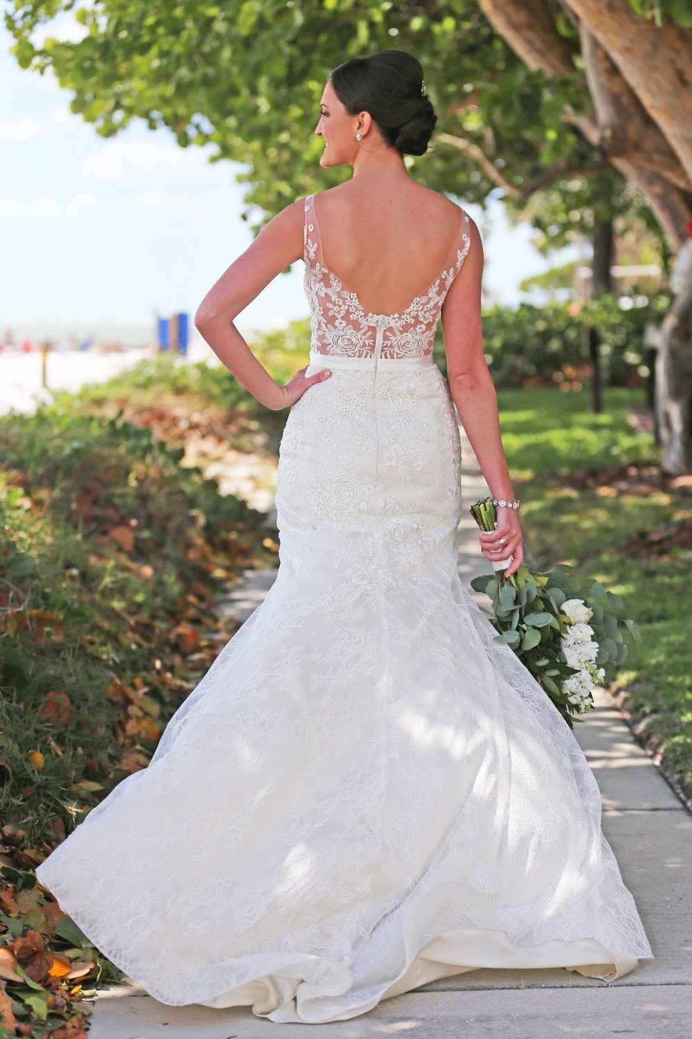 The lace illusion back was our favorite part about the wedding gown!