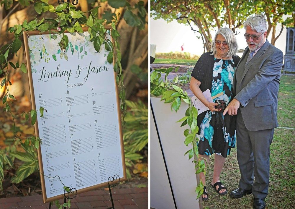 Greenery and florals were everywhere! Like on this adorable custom seating chart.