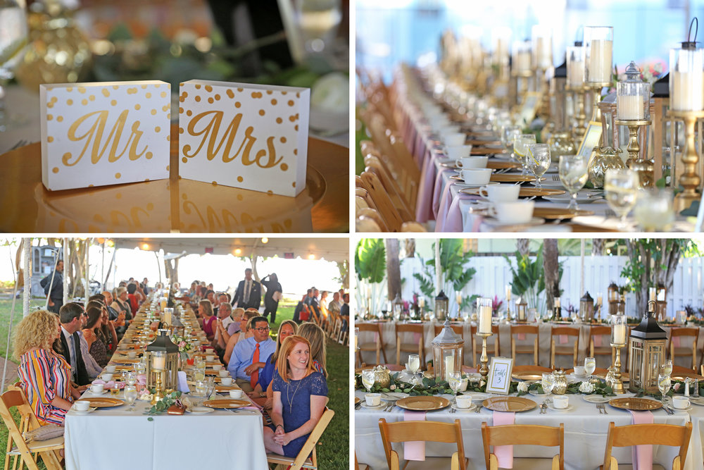 Gold chargers and candlesticks were interspersed with wood lanterns and an abundance of greenery to lend a natural romantic feel to the reception space.