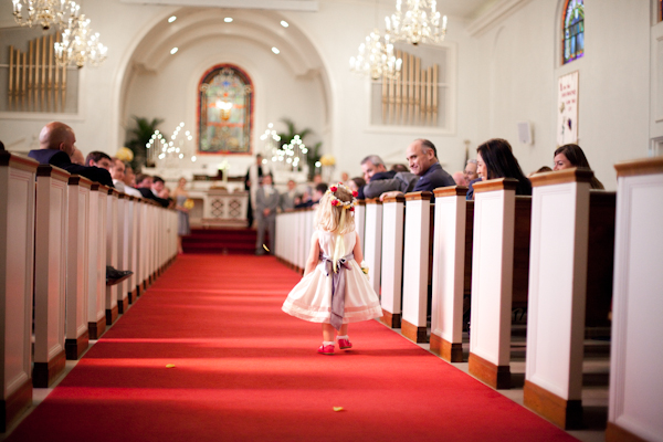 The sweetest little flower girl led the way for the bride at the Hyde Park Presbyterian Church.