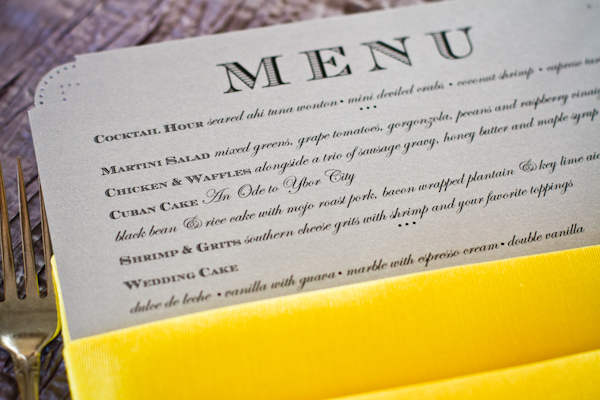 Menu cards in coordinating shades of grey were tucked into sunshine yellow napkins at each place setting.