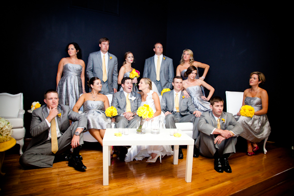 The wedding party were dressed up in metallic silver and grey, with pops of hot pink in the bridesmaids shoes and yellow in the groomsmen's ties and boutonnieres.