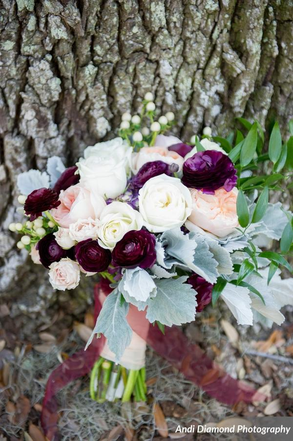 The bride's bouquet consisted of ranunculus, hydrangea, garden roses and touches of greenery.