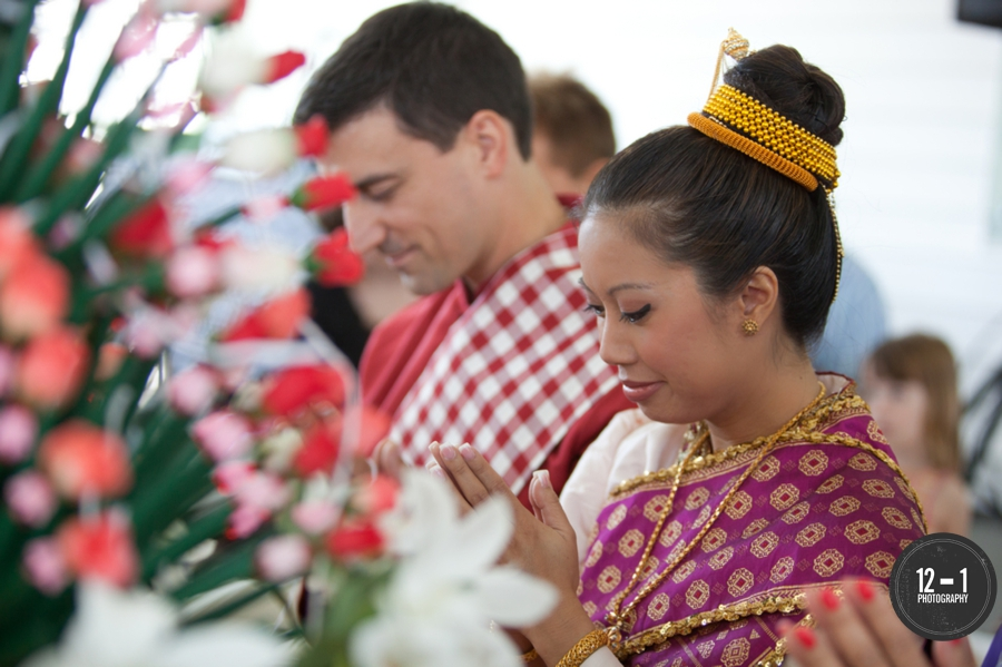 Guests joined in prayer with the couple during the morning baci ceremony.