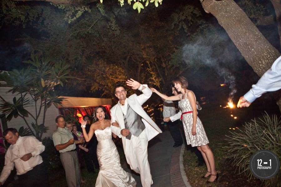 Guests said farewell to the couple with well-wishes during a sparkler sendoff!