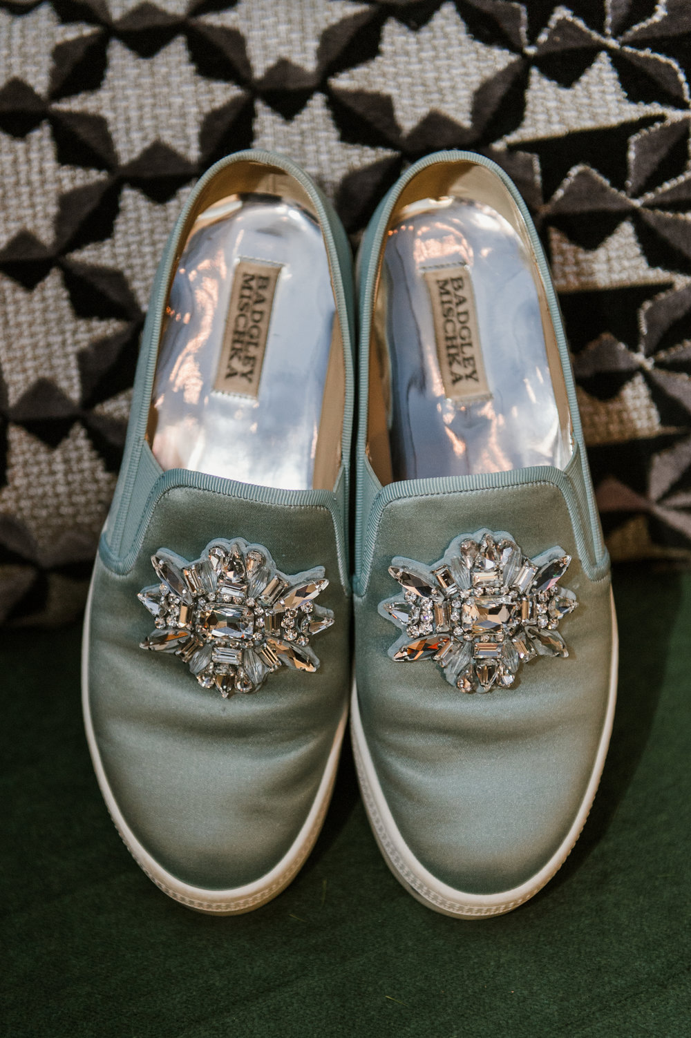 The bride's super stylish Badgley Mischka slip-ons, in a coordinating blue-green tone with just the right amount of sparkle!