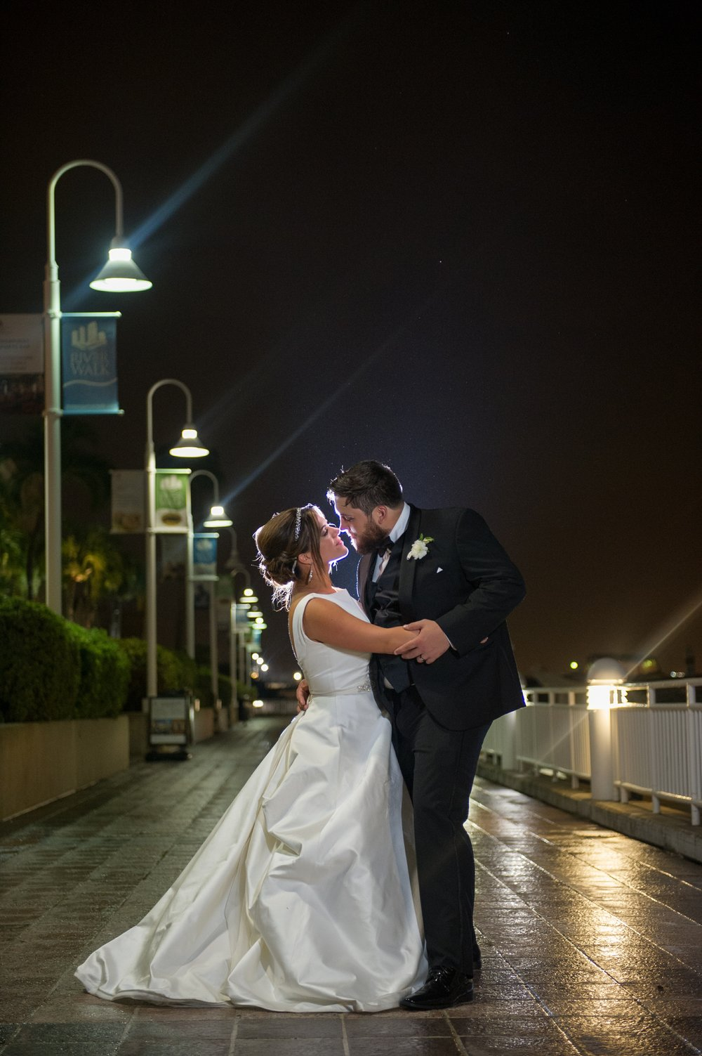 The couple ended the night together beneath the night sky along the Tampa Riverwalk.