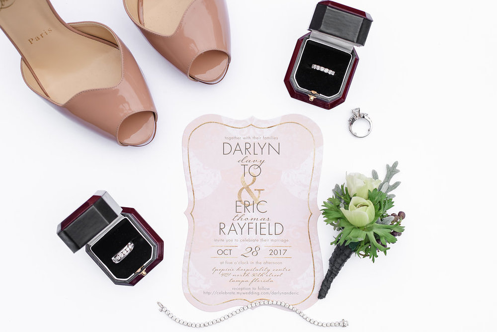 Chic design elements in the invitation suite set the tone for this fun and elegant wedding.
