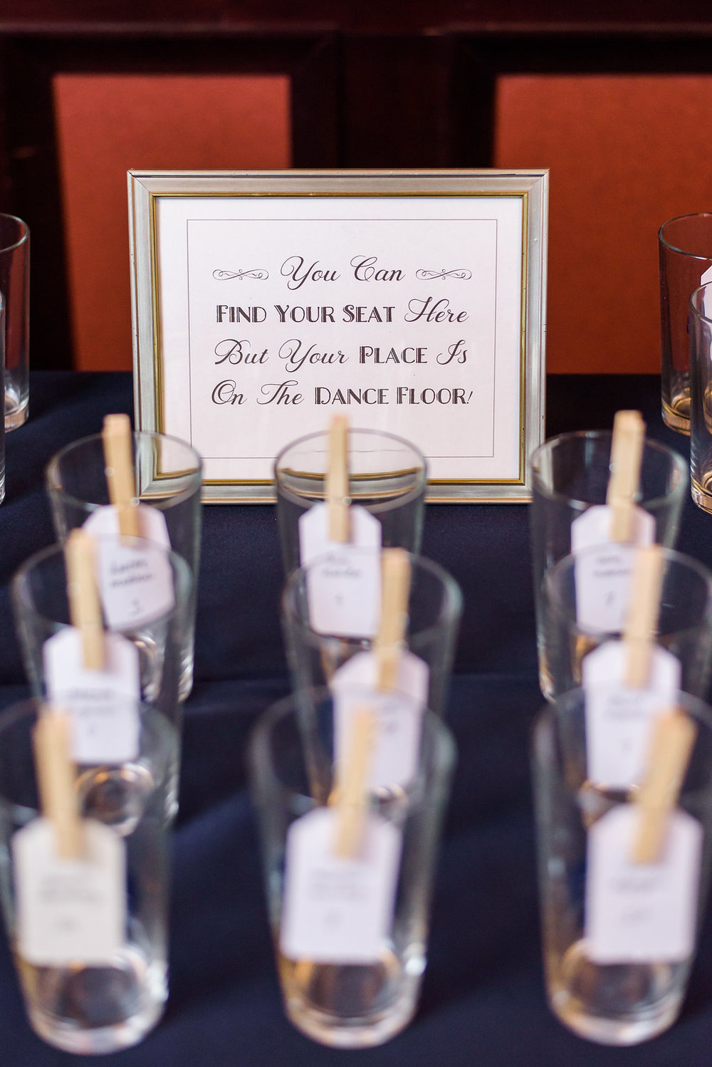 Guests sipped from their custom pint glass favors which doubled as escort cards.