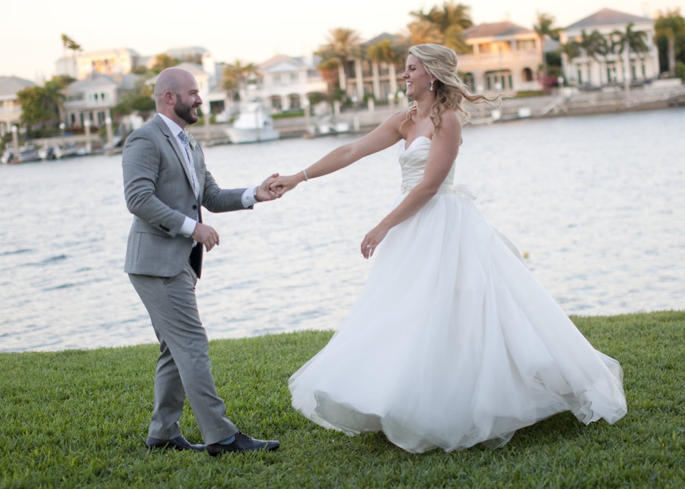 A Florida sunset on the water creates the perfect backdrop for photos!