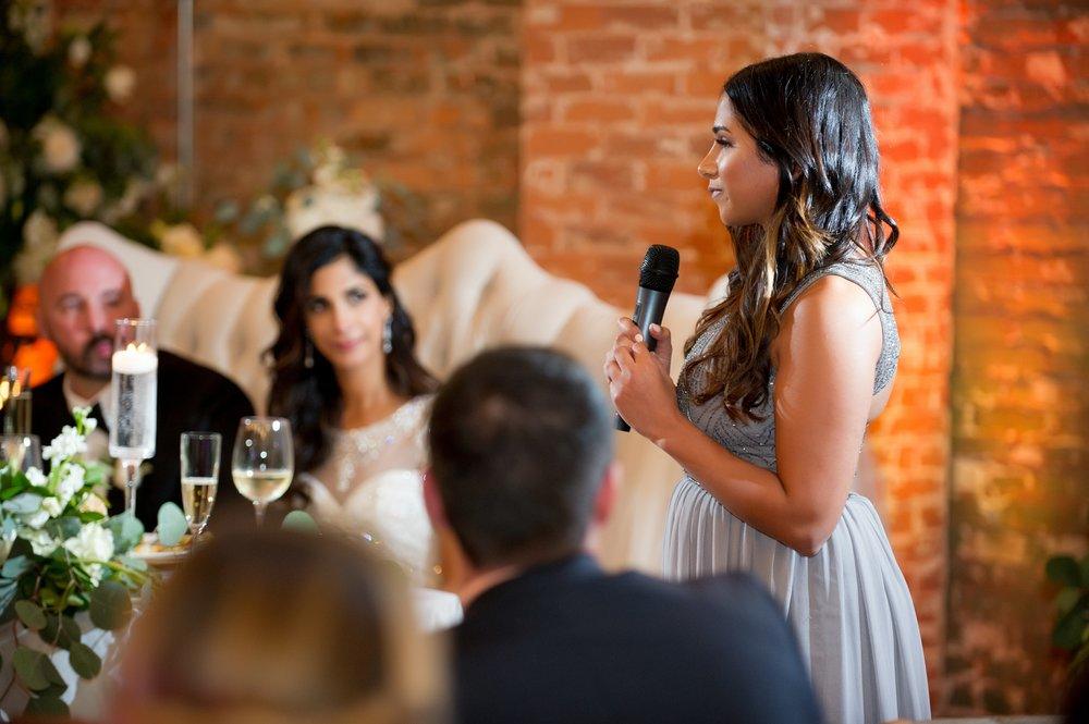 A heartfelt speech made by the Maid of Honor.