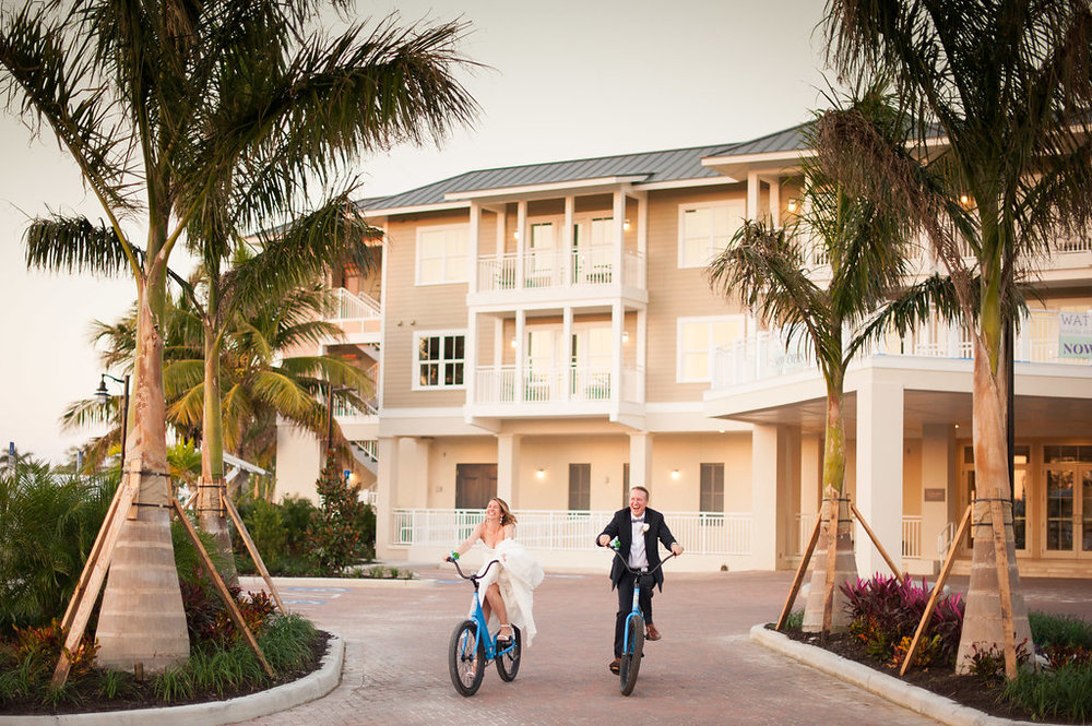 The resort, which offers activities like kayak and bicycle rentals, provides a beautiful backdrop for photos in the setting Florida sun.