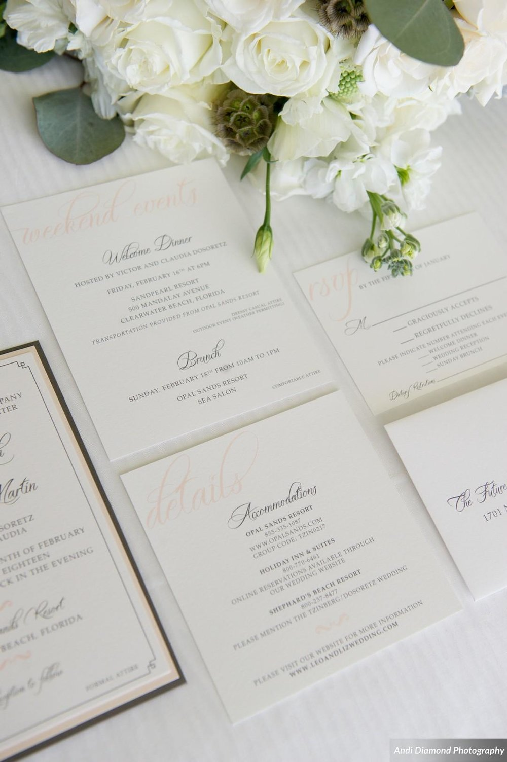From the first impressions of receiving elegant pocket-style custom invitations, guests knew they were in for a special celebration.