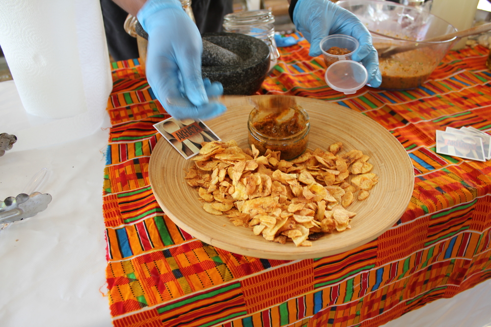 Serving up our Piri Piri dip which guests could enjoy with Plantain chips