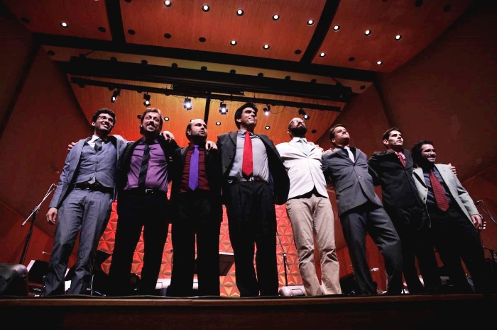 Pablo de Sá (cello), Ivo Senra (piano e arranjos), Fernando Vilela (voz  e violão ), Thiago de Mello (voz  e violão ) Pedro Sá Moraes (voz, guitarra e percussão), Renato Frazão (voz e violão), Thiago Amud (voz, violão e arranjos), Lúcio Vieira (bateria).   Foto:Janine Moraes - Minc