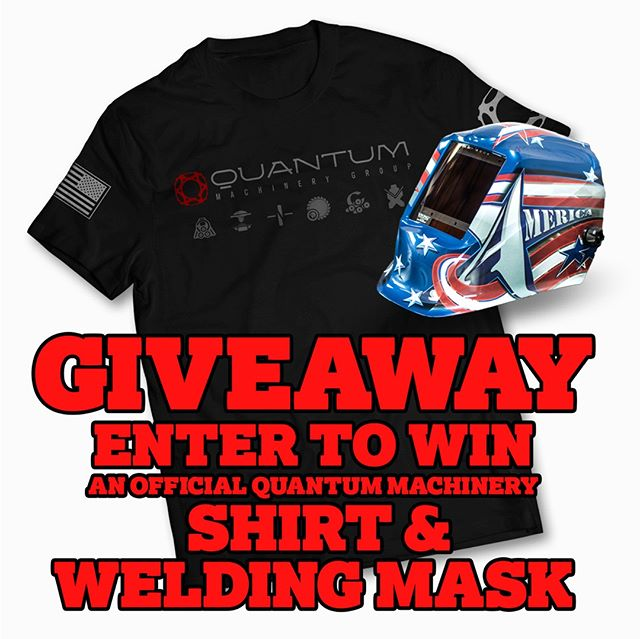 "IT'S GIVEAWAY TIME!!! Enter to win a unique High-Quality Welding Mask/Helmet and an Official Quantum Machinery T-Shirt. Here are the 3 simple rules to enter and be eligible to win: 1.) Like this post! 2.) Follow our page. 3.) Subscribe to our mailing list by going to WeldingTablesAndFixtures.com (Winner will be announced on July 1st, 2018 and will also be announced via E-mail.) 4.) For an additional ""BONUS ENTRY"" - Share this post. . #quantumnation #quantummachinery #welders #giveaway #quantummachinerygiveaway #contest #weld #metalwork #weldernation #welding #win #weldwin #competition #winitwednesday #workingclass #fabshop #weldlife #metal #steel #metalworking #tig #mig #weldporn"