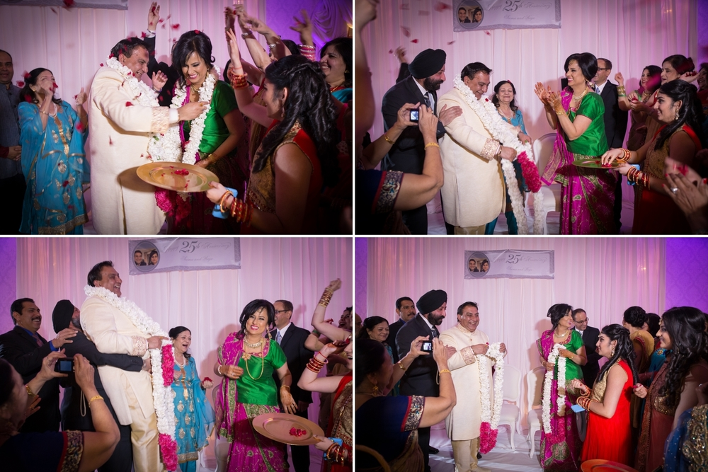 Indian garland exchange ceremony. The couple had the same enthusiasm and fun of a newly wed.