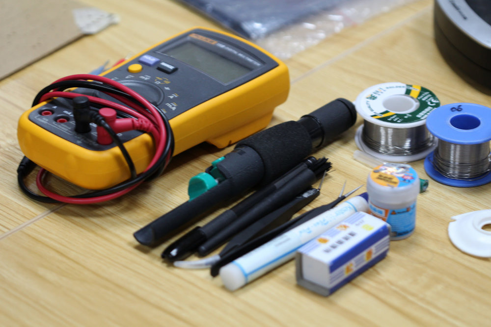 Examples of some of the tools and equipment you'll find useful during the PCB assembly process.