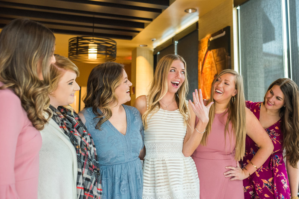this fun bridal shower was held in the merlot room at coopers hawk in the town center