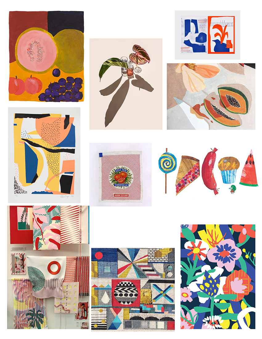My initial moodboard for the piece including works by Atelier Bingo, Nat Vico, Lea Maupetit, Eric Carle, Sally Cheung, Zoran Pungercar, Genevieve Griffiths, Suzanne Saroff,   and vintage Italian wrappers.