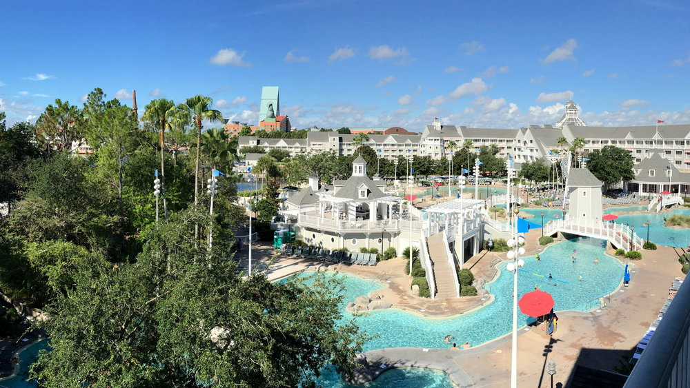 Here is just a portion on Disney's Beach Club epic pool! You can't even seen the pirate ship off to the right behind the trees.