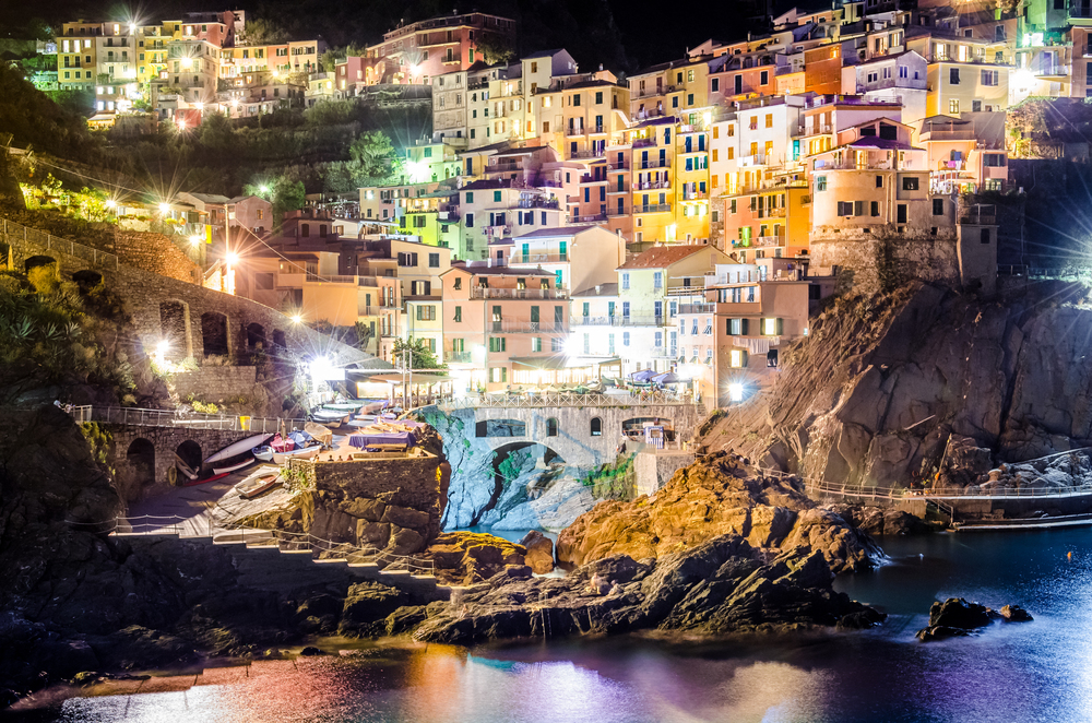 Night View of Colorful Village