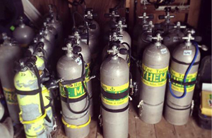 There are many tank of nitrox and trimix tanks that the roatan tec center and coconut tree divers filled with their oxygen and helium booster pumps.