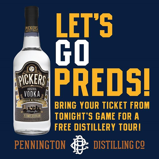 Hey Smashville! If you're at tonight's game hold onto your ticket! Bring your ticket to the @penningtondistillingco and get a FREE tour!  For tour info visit: www.penningtondistillingco.com * Offer is good through April 28, 2018 #nashvillepredators #gopreds #smashville