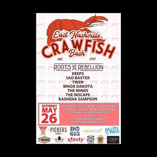Hey Nashville! Come get your crawfish on at East Park tomorrow for the @eastnashcrawbash! Gates open at noon and music starts at 12:30pm.  #pickersvodka #whispercreek #davidsonreserve #penningtondistillingco #yazoobrew #nashville #festivals #memorialdayweekend #crawfish #do615 #barrittsgingerbeer #tigerbloodmix #switterscoffee