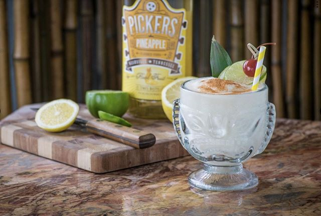 Beat the heat with this tasty frozen concoction. 2 c. ice 1/2 banana 2 oz coconut cream 1/2 oz lime juice 1/2 oz lemon juice 2 oz Pineapple Pickers Vodka Pinch of cinnamon, 2-3 dashes bitters _ #recipe #cocktail #vodka #pickersvodka #Friday #vibes #drinks #friends #frozen #summer
