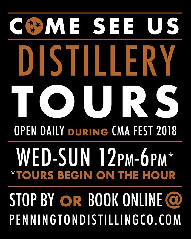 Hey CMA Fest Fans! Looking for some fun things to do in Nashville while you're in town? Grab your friends and head out to @penningtondistillingco for a tour! Tour info can be found at: penningtondistillingco.com.  #penningtondistillingco #pickersvodka #davidsonreserve #whispercreek #penningtonwhiskey #tennesseewhiskeytrail