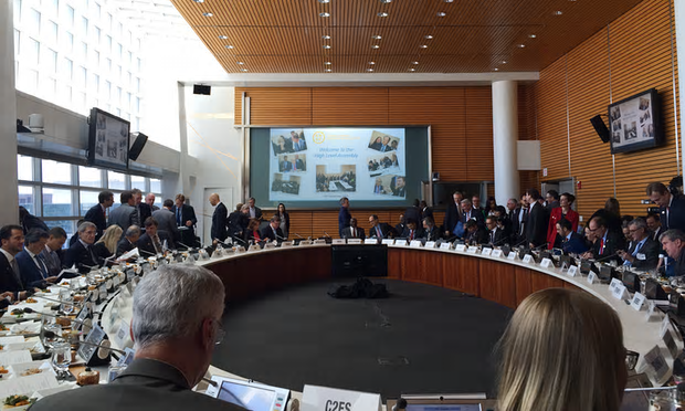 Diplomats, business leaders, World Bank staff, and strategic partners gather just before the inaugural High-Level Assembly of the Carbon Pricing Leadership Coalition. Photograph: Joseph Robertson