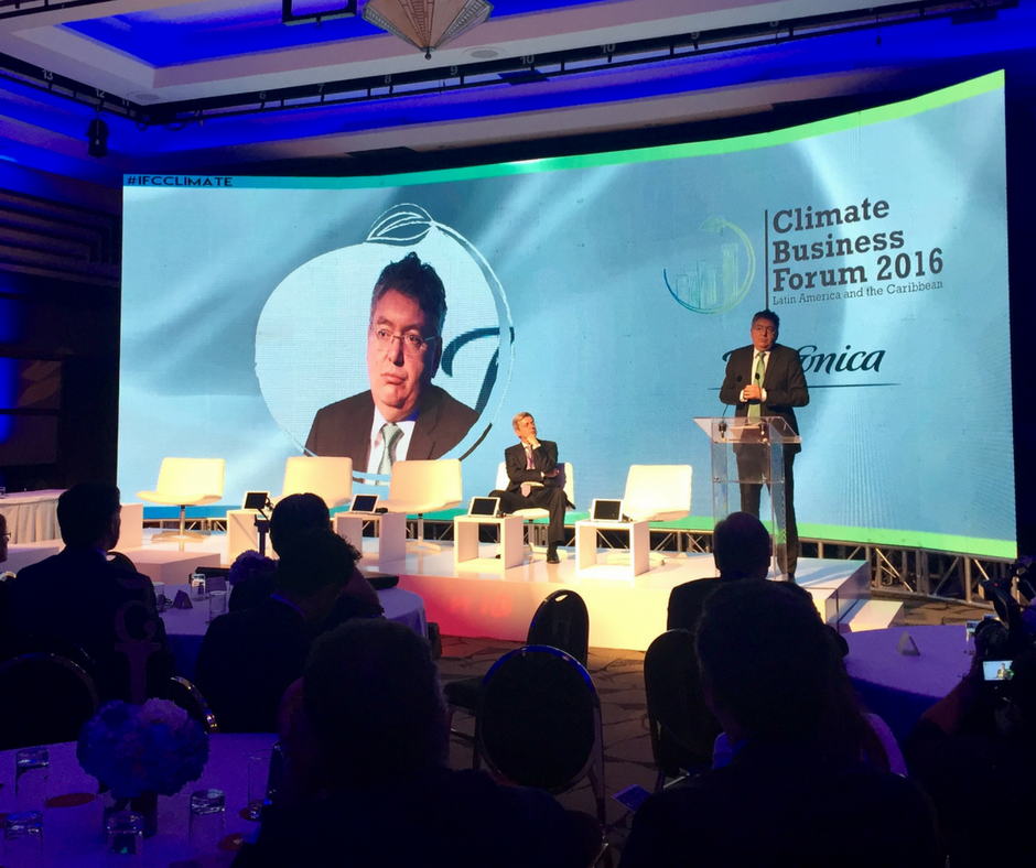 Colombia's Finance Minister Mauricio Cardenas opens at the Climate Business Forum 2016