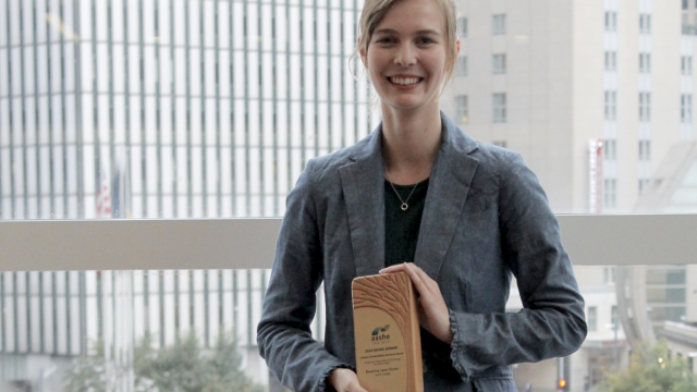 Breanna Parker '18 won a prestigious AASHE award for a carbon-pricing strategy she helped develop for Smith. Photo courtesy of AASHE.