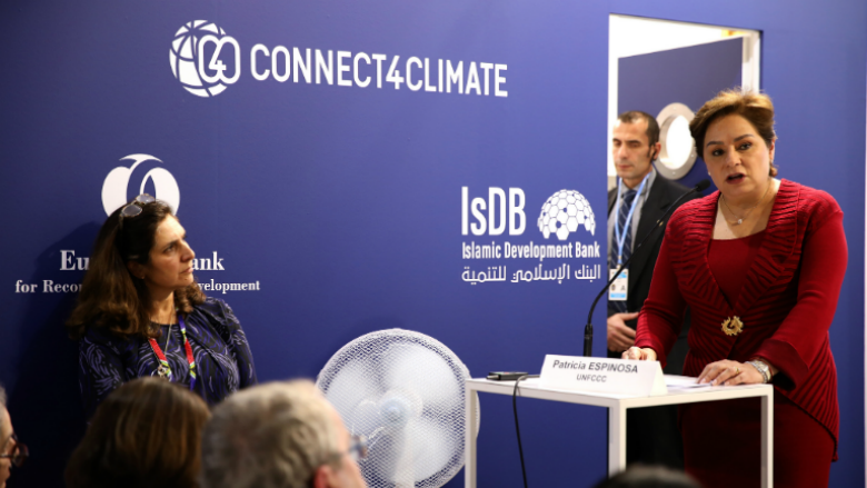 Patricia Espinosa, UNFCCC Executive Secretary, during a speech at the MDB Joint Pavilion. Photo Credits: Kaia Rose, Connect4Climate