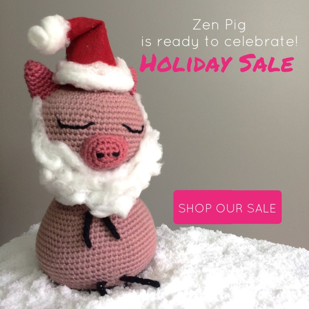 Zen Pig Santa in Snow - Christmas Sale