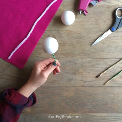 1. Place the styrofoam balls on each side of the toothpick. It will look like a dumbbell.